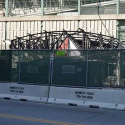 Another view of the remaining framework of the Draft Kings Sports Zone, at the corner of Addison and Sheffield