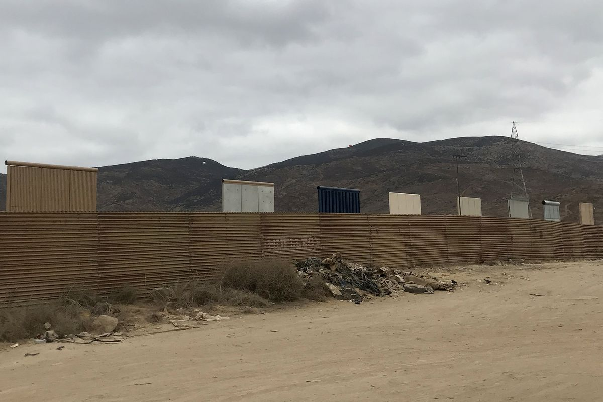 Eight border wall prototypes on display in Southern California.