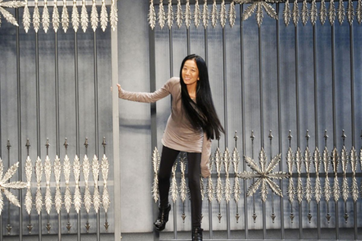 Vera Wang steps out after her runway show. Via Getty