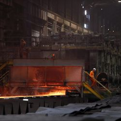 The hot-strip mill is seen at the U.S. Steel Granite City Works facility in Granite City, Ill.   AP Photo/Jeff Roberson