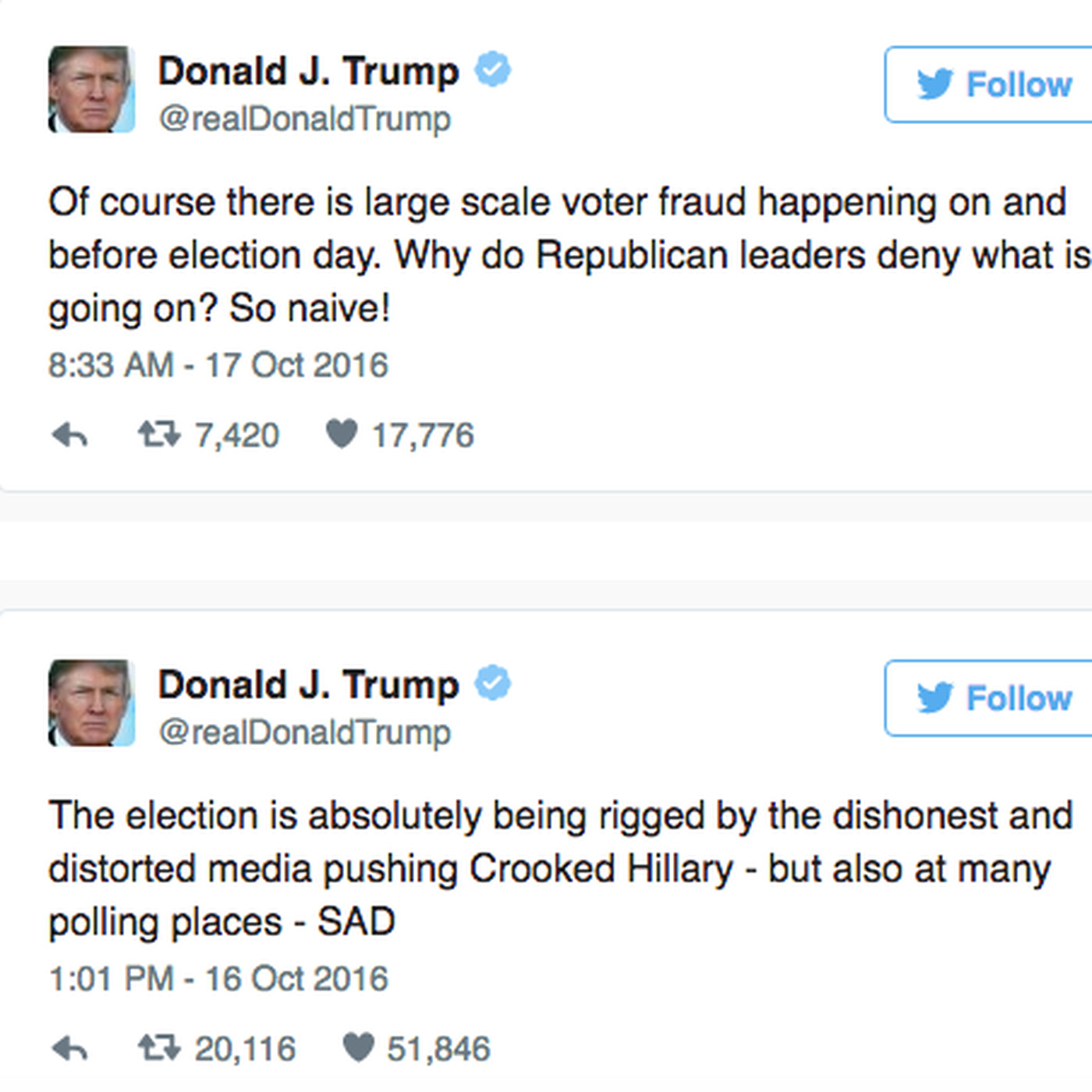 Donald Trump Is Going On A Furious Twitter Tirade About The Rigged Election Vox