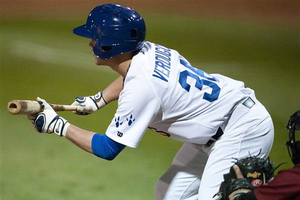 Alex Verdugo didn't have any sacrifice bunts in 2014, so this was either foul, missed, or an attempt at a bunt single.