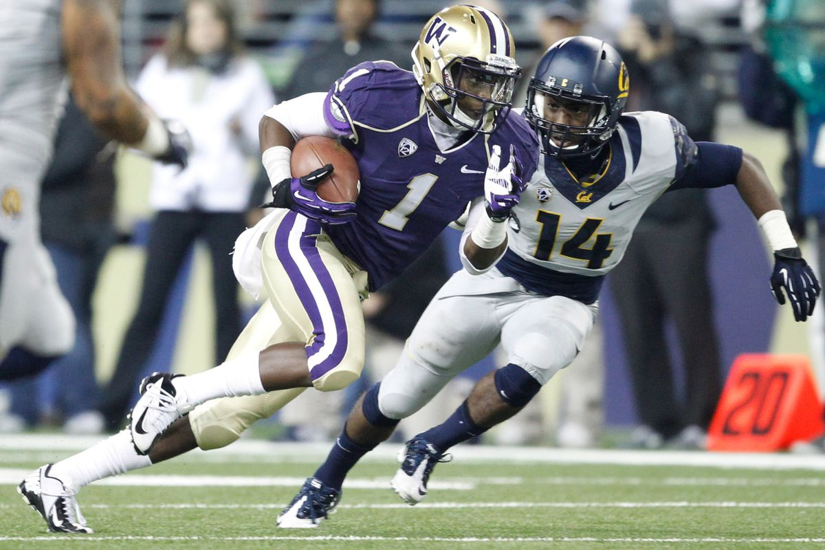 John Ross III (1) of Washington is going to have to reappear against Cal this Saturday.