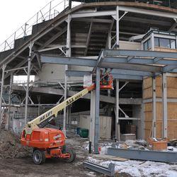 Behind the scorebaord at Sheffield & Waveland -