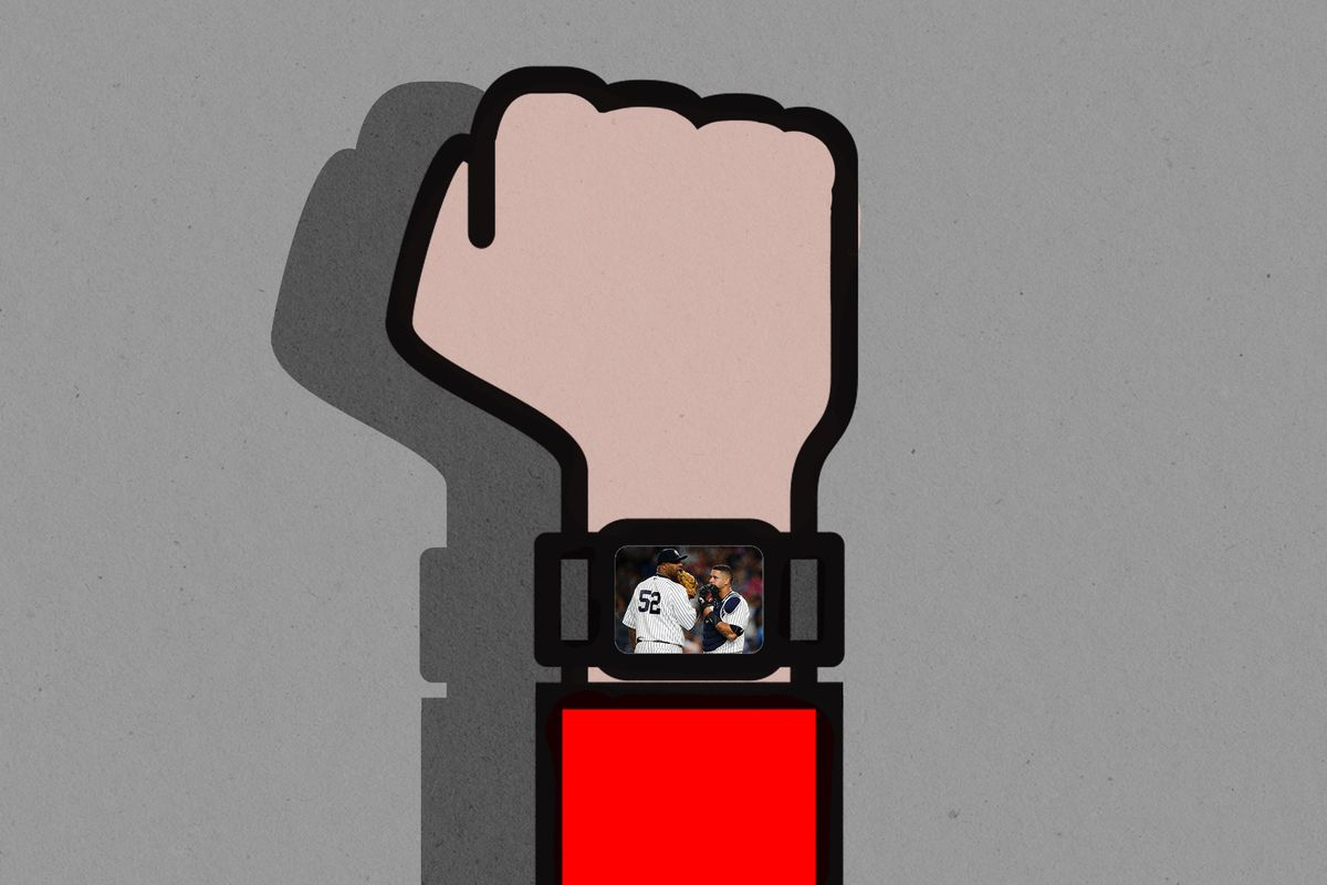 Illustration of a hand with an Apple Watch showing a baseball meeting at the mound