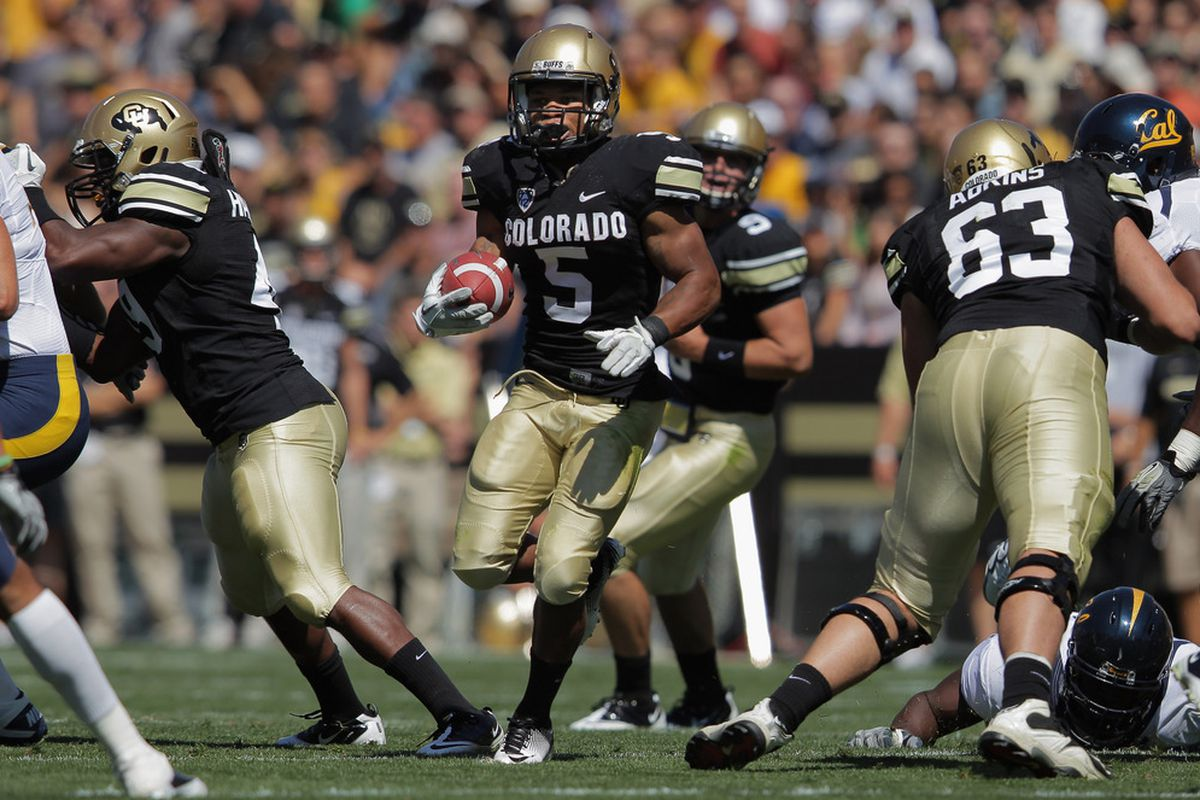 BOULDER, CO - SEPTEMBER 10:  Running back Rodney Stewart #5 of the Colorado Buffaloes rushes against the California Golden Bears at Folsom Field on September 10, 2011 in Boulder, Colorado.  (Photo by Doug Pensinger/Getty Images)