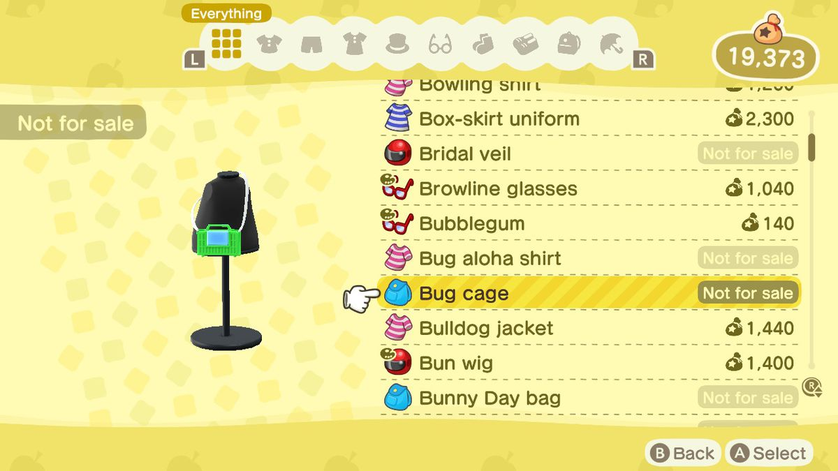 An Animal Crossing: New Horizons shop menu for a Bug Cage