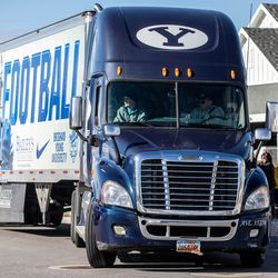 Brandon Stewart goes for a ride in BYU football's equipment semi in Clinton on Saturday, Jan. 30, 2021. The ride was his final wish as he battles cancer.
