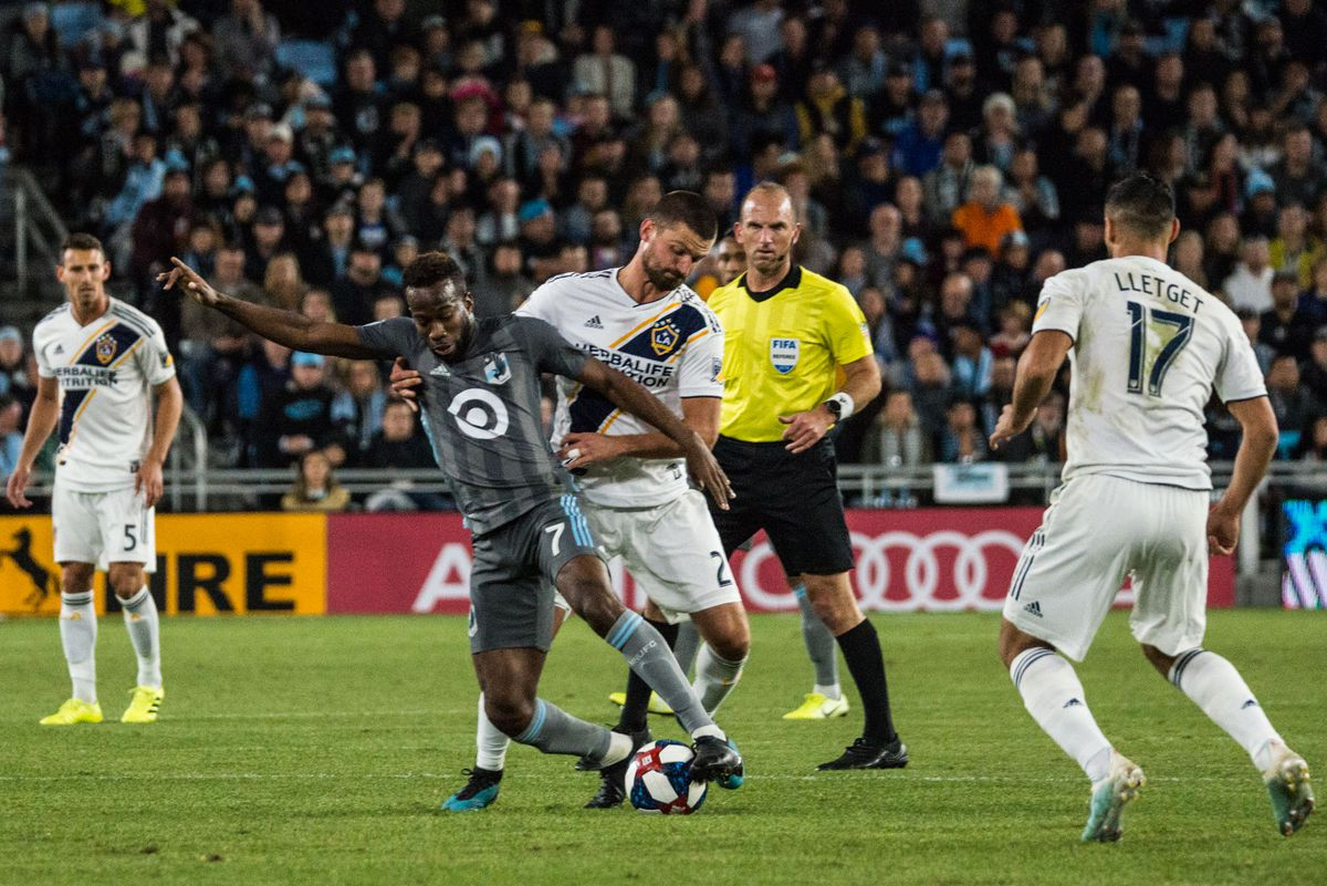 October 20, 2019 - Saint Paul, Minnesota, United States- Kevin Molino plays a ball during an Audi MLS Cup Playoff match between Minnesota United and The Los Angeles Galaxy at Allianz Field (Photo: Tim C McLaughlin)
