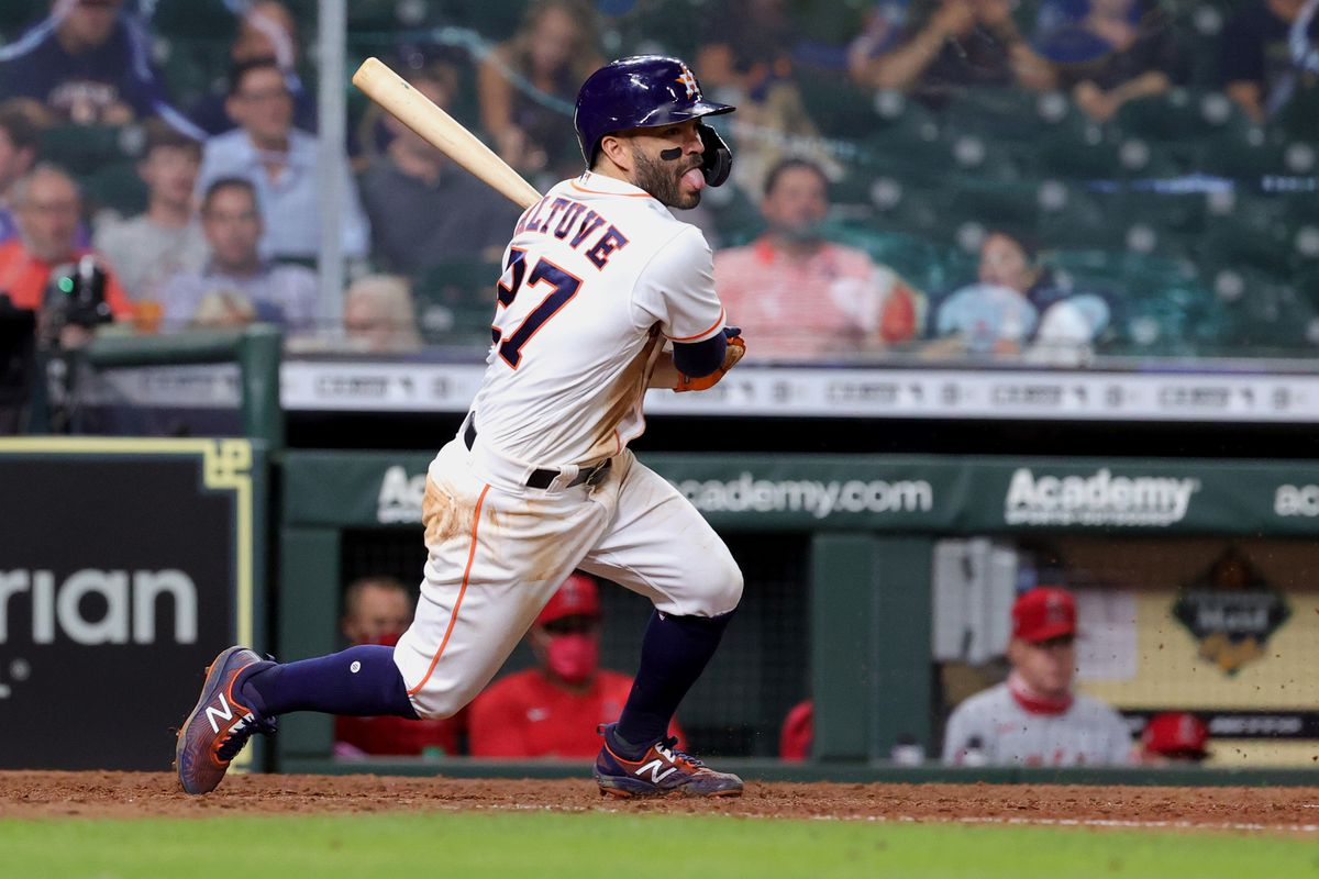 Jose Altuve #27 of the Houston Astros in action against the Los Angeles Angels at Minute Maid Park on May 10, 2021 in Houston, Texas.