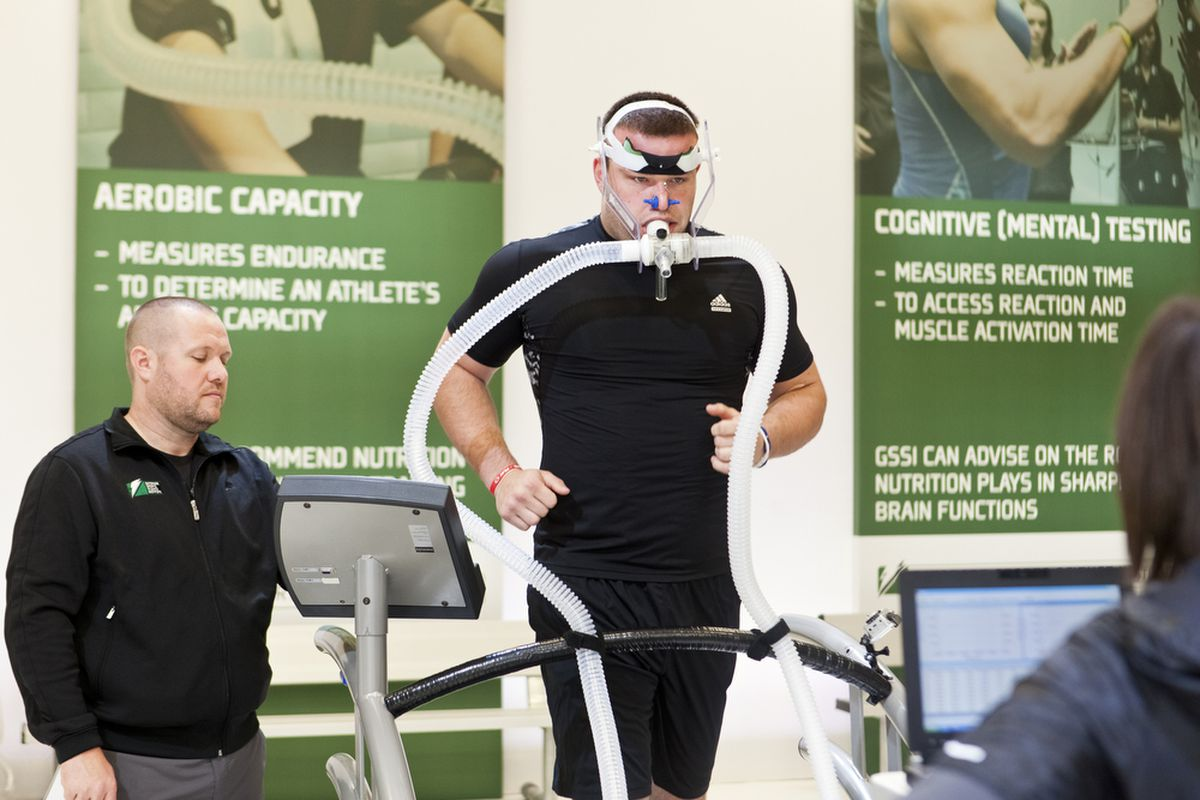 Jared Crick trains at the Gatorade Sports Science Institute in preparation for the NFL combine.
