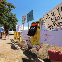 Anti-monument signs line the drive in Bluff as Interior Secretary Sally Jewell attends a meeting to discuss the proposed Bears Ears National Monument in southern Utah on Saturday, July 16, 2016.