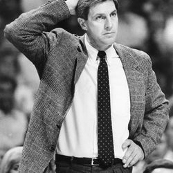 New Utah Jazz head coach Jerry Sloan at a game on December 9, 1988. Jerry Sloan replaced Frank Layden as the head coach of the Utah Jazz.