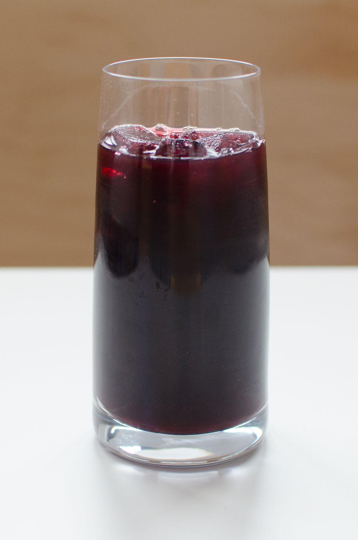 Chicha morada (a non-alcoholic Peruvian purple corn beverage) at Celeste