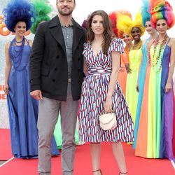 Justin Timberlake and Anna Kendrick at a photo call for 'Trolls.' Anna is wearing a Marc Jacobs dress and a M2Malletier bag.