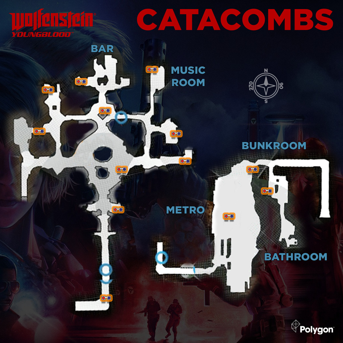 Wolfenstein: Youngblood Catacombs Collectibles Map And