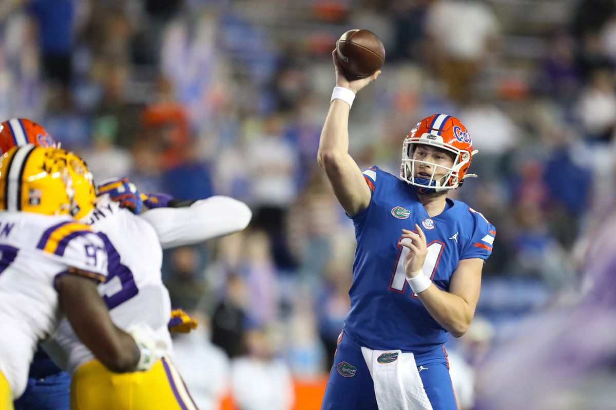 Florida Gators quarterbacks Kyle Trask throws the ball for a first down in the first half in the game against the LSU Tigers at Ben Hill Griffin Stadium in Gainesville, Fla. Dec. 12, 2020.