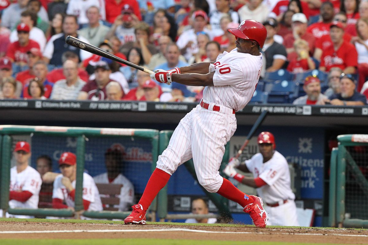 PHILADELPHIA - AUGUST 29: Juan Pierre #10 of the Philadelphia Phillies bats during a game against the New York Mets at Citizens Bank Park on August 29, 2012 in Philadelphia, Pennsylvania. (Photo by Hunter Martin/Getty Images)
