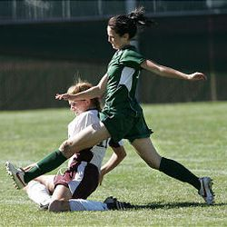 Rebecca Riddle makes a play during the Hillcrest-Jordan game. Riddle led team with 17 goals during season.
