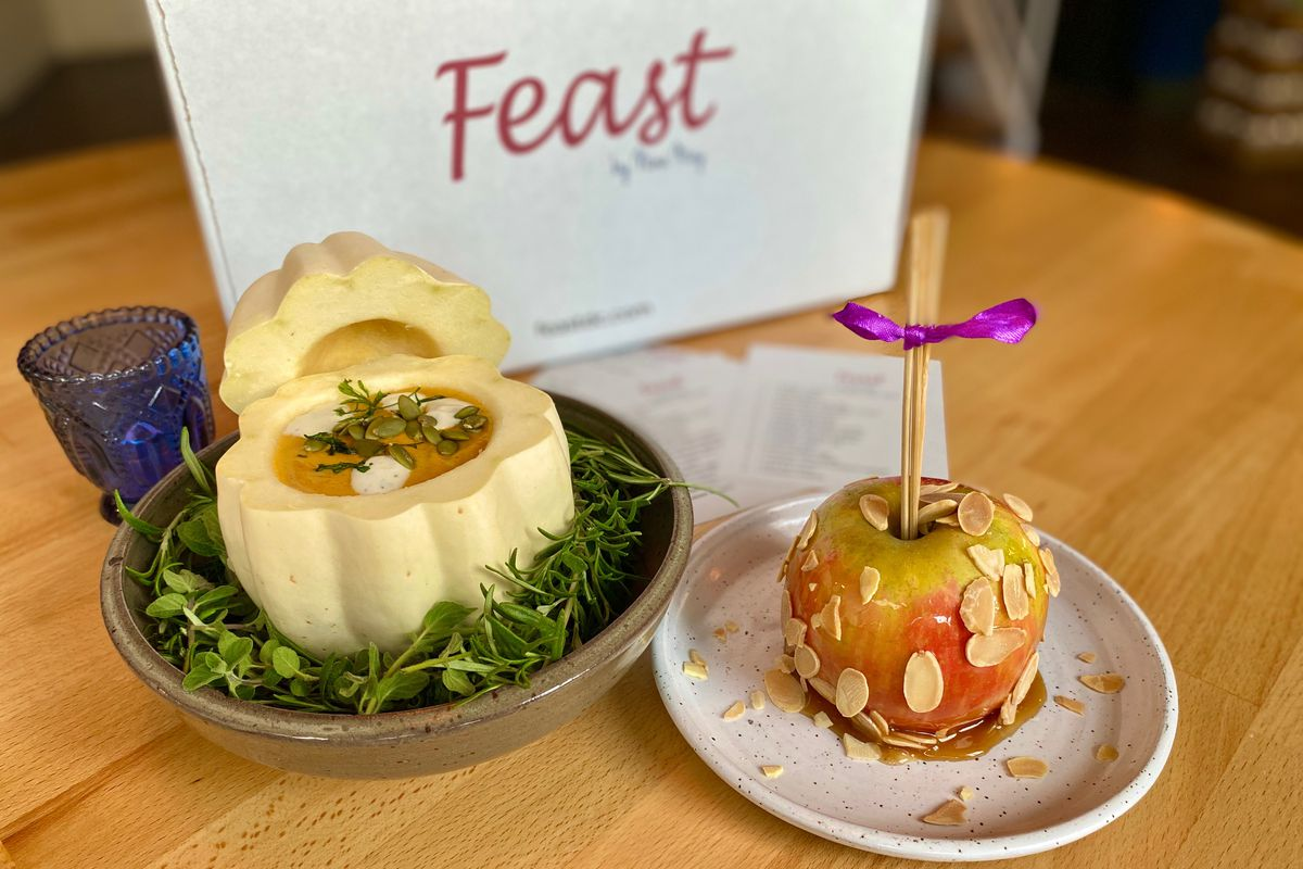 Nina May is selling delivery packages with candy apples and koginut pumpkin soup.