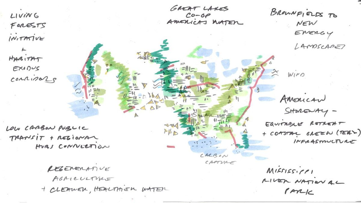 A hand-drawn illustration of the United States in green and red marker showing how new infrastructure ideas could reshape the landscape