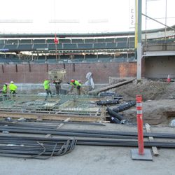View of the left-field corner of the bleachers on Waveland