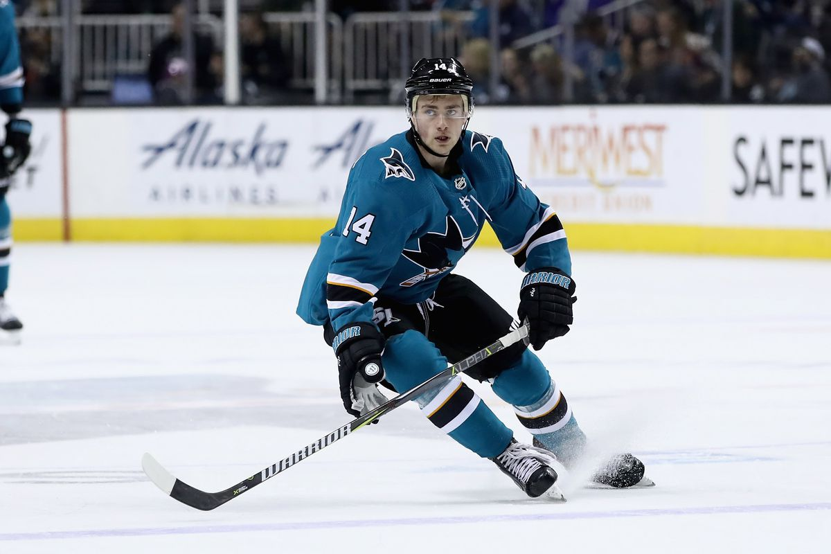 SAN JOSE, CA - APRIL 05: Dylan Gambrell #14 of the San Jose Sharks in action during their game against the Colorado Avalanche at SAP Center on April 5, 2018 in San Jose, California.