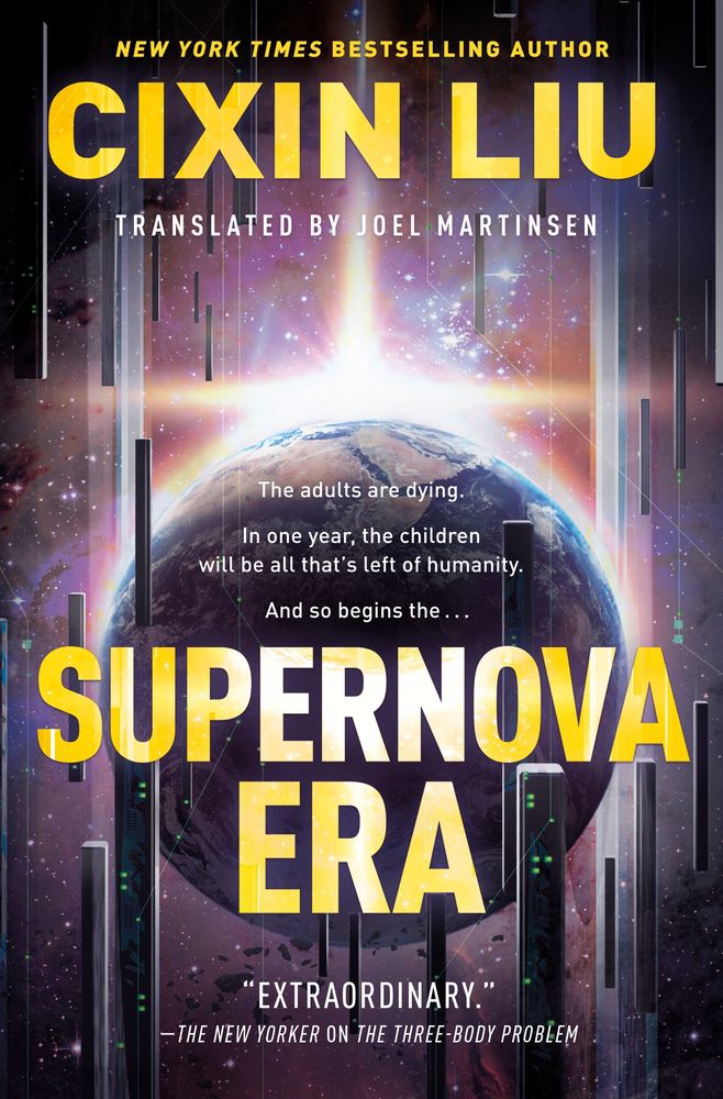 cover for Supernova; a planet surrounded by rectangular spaceships with a futuristic appearance