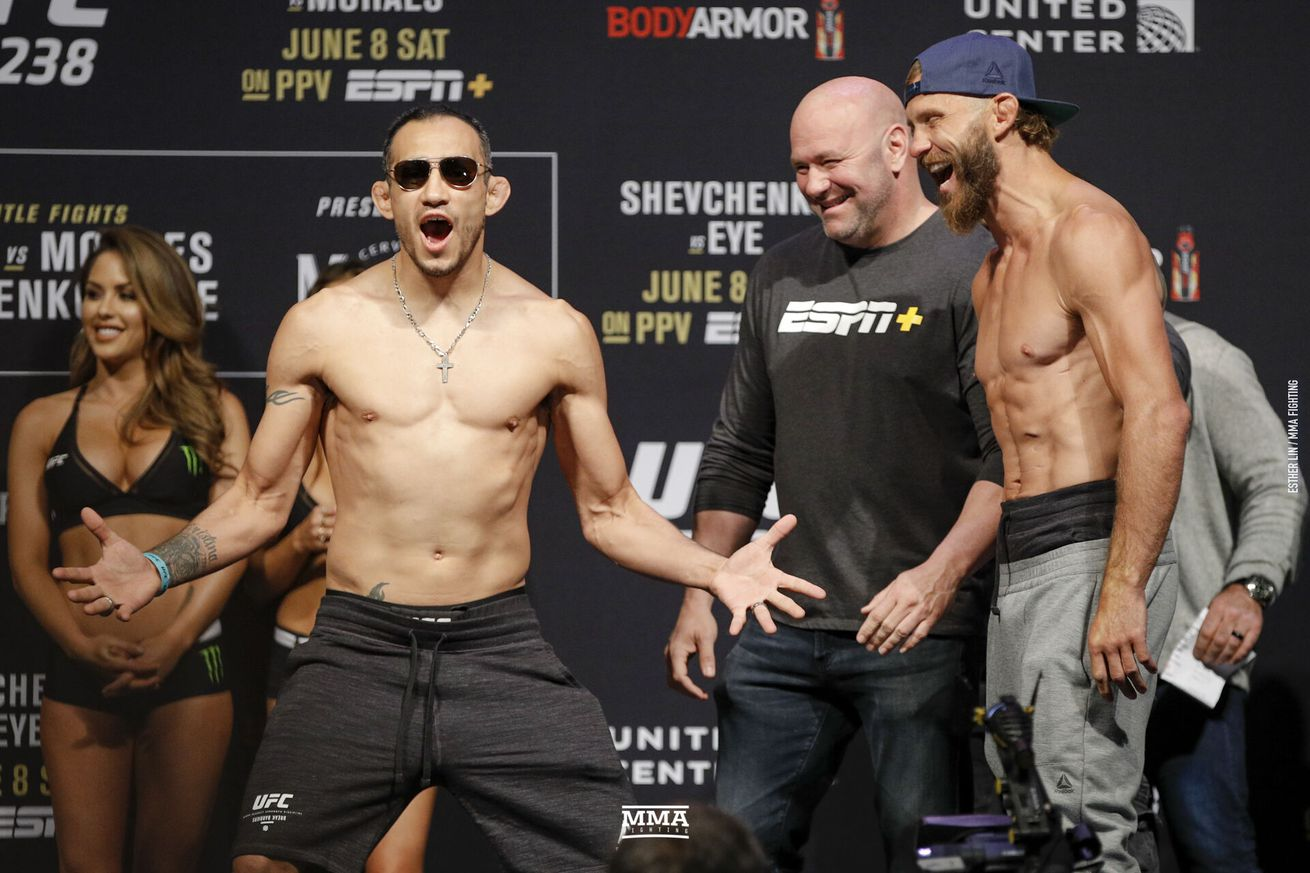 Tony Ferguson faces off with Donald Cerrone ahead of their lightweight bout at UFC 238 on Saturday at United Center in Chicago
