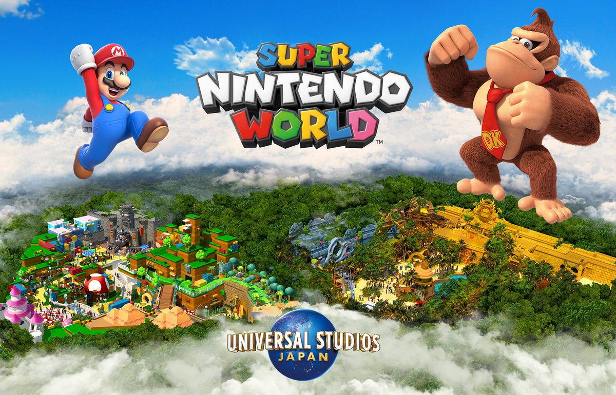 Artwork of the expanded Super Nintendo World featuring Donkey Kong