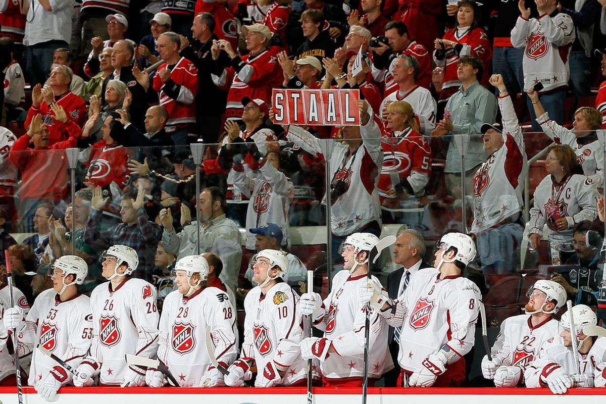 RALEIGH, NC - JANUARY 30: Team Staal players react during the third period against Team Lidstrom in the 58th NHL All-Star Game at RBC Center on January 30, 2011 in Raleigh, North Carolina. (Photo by Kevin C. Cox/Getty Images)