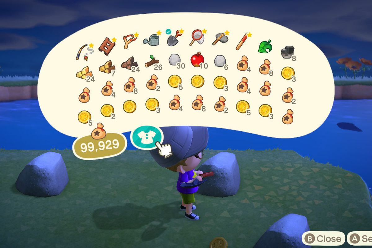 Showing a full inventory of 40 slots in Animal Crossing New Horizons