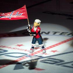 Slapshot Flies Flag at Center Ice