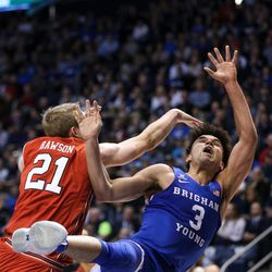 BYU's Elijah Bryant takes a shot at the Marriott Center in Provo on Saturday, Dec. 16, 2017.