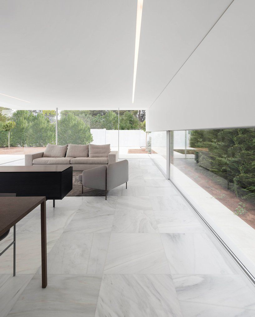 Living room with marble floors