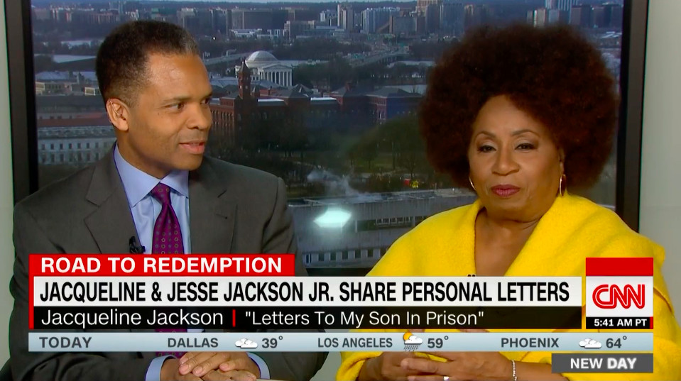 Former U.S. Rep. Jesse Jackson Jr. and his mother, Jacqueline, discuss the publication of a book comprised of letters she sent him in prison during an interview Saturday on CNN. | Screenshot provided by CNN