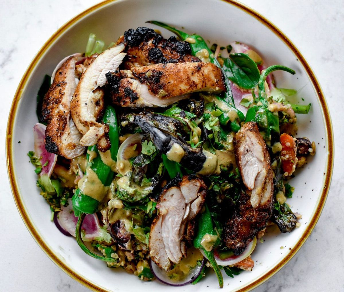 Grain bowl with grilled chicken