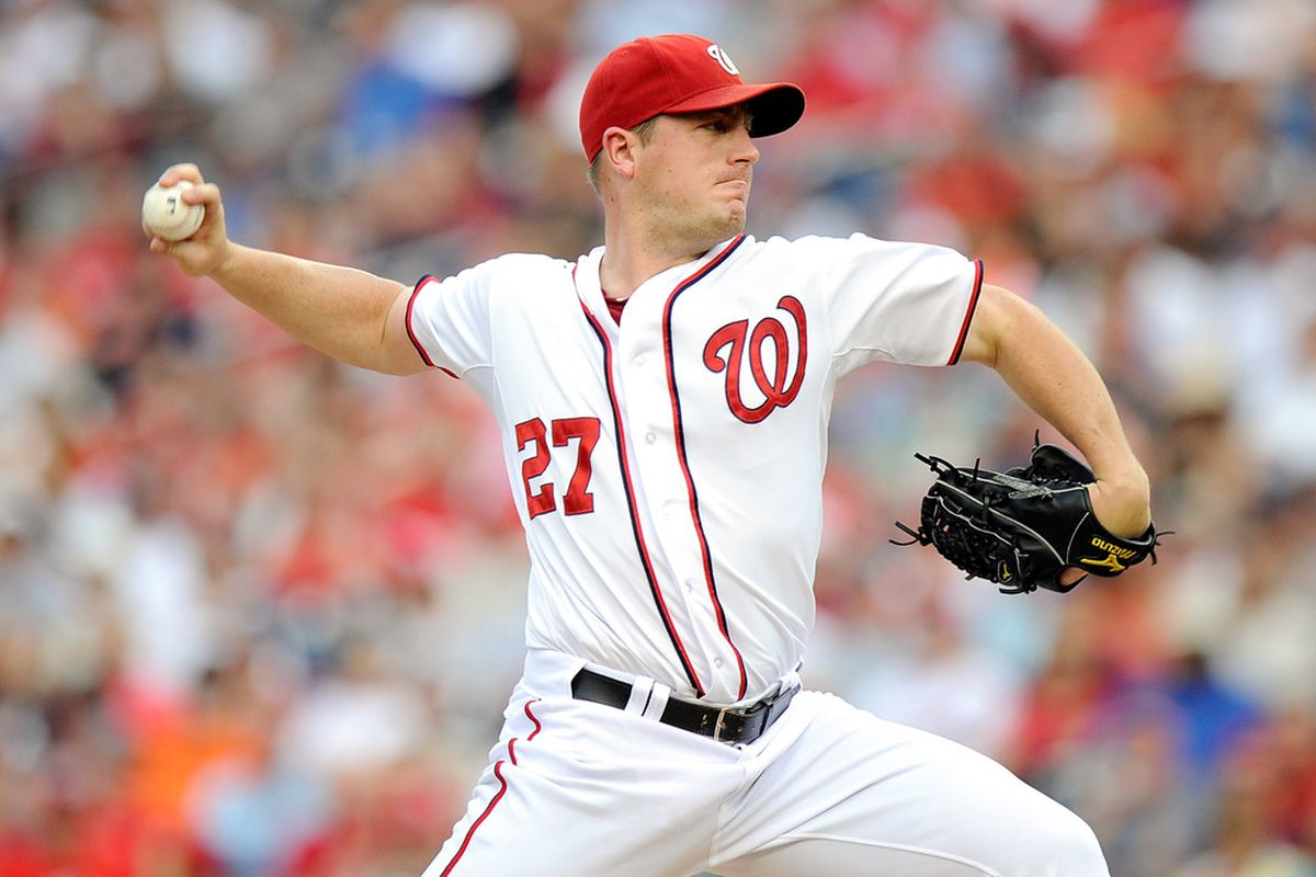 WASHINGTON, DC - JULY 03:  Jordan Zimmermann #27 of the Washington Nationals pitches against the San Francisco Giants at Nationals Park on July 3, 2012 in Washington, DC.  (Photo by Greg Fiume/Getty Images)