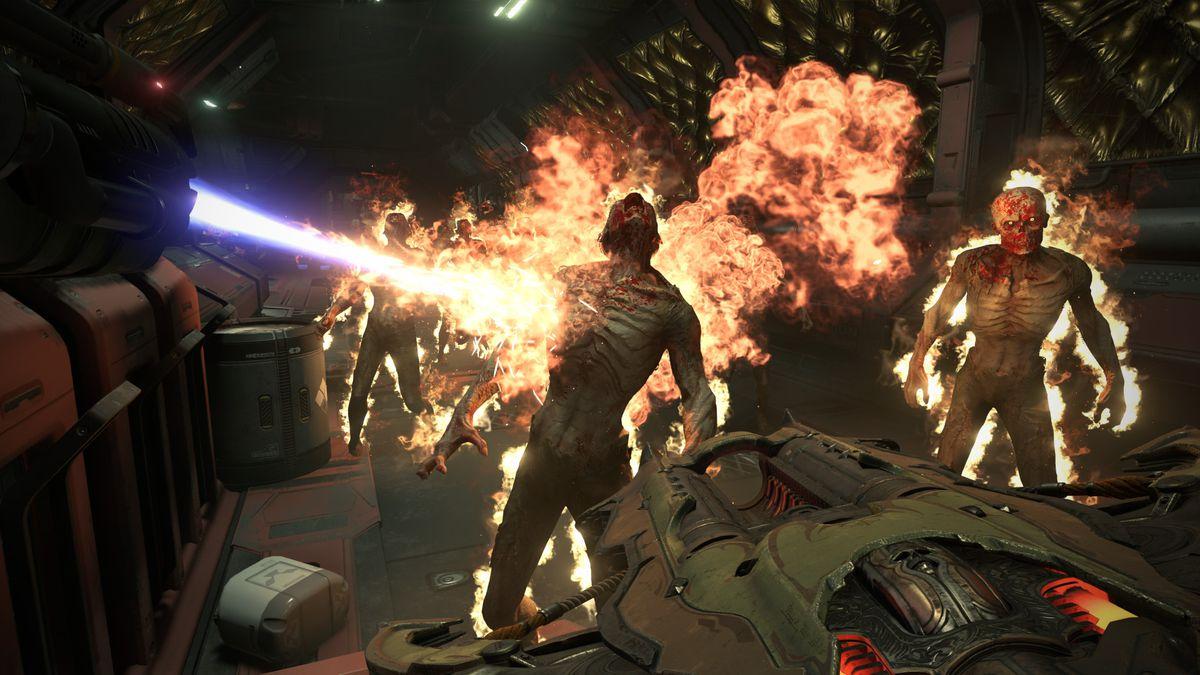 skeletal demons are set on fire in Doom Eternal