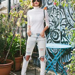 """Chriselle of <a href=""""http://thechrisellefactor.com""""target=""""_blank"""">The Chriselle Factor</a> is wearing a Theory shirt, Zara jeans, <a href=""""http://us.jimmychoo.com/en/sale/women-sale/shoes/abel/black-patent-and-military-suede--pointy-toe-pumps-132abelpdg"""