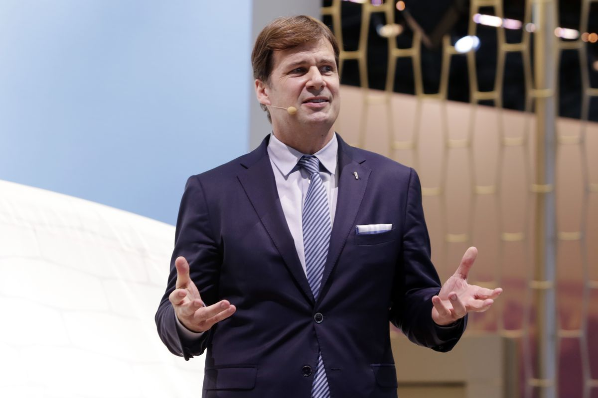 Jim Farley Jr., executive vice president and president of Global Markets of the Ford Motor Company, is shown in this photo during New York International Auto Show. March 28, 2018 file photo