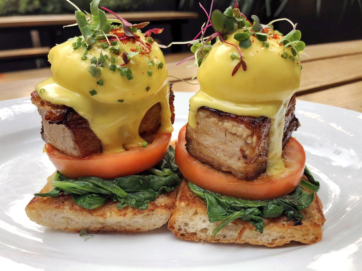 Pork Belly Eggs Benedict from Pushkin's Restaurant