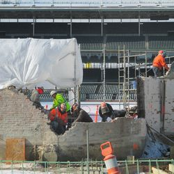 A closer view of the work on the inner bleacher wall near section 315 in the right-field well