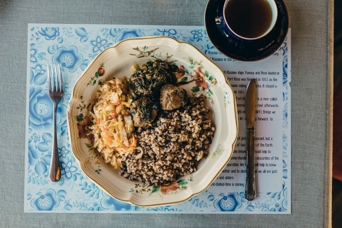 Russia House #1's kasha, or buckwheat groats, made with capers and seaweed. Served here with pork medallions, sauerkraut, and greens.