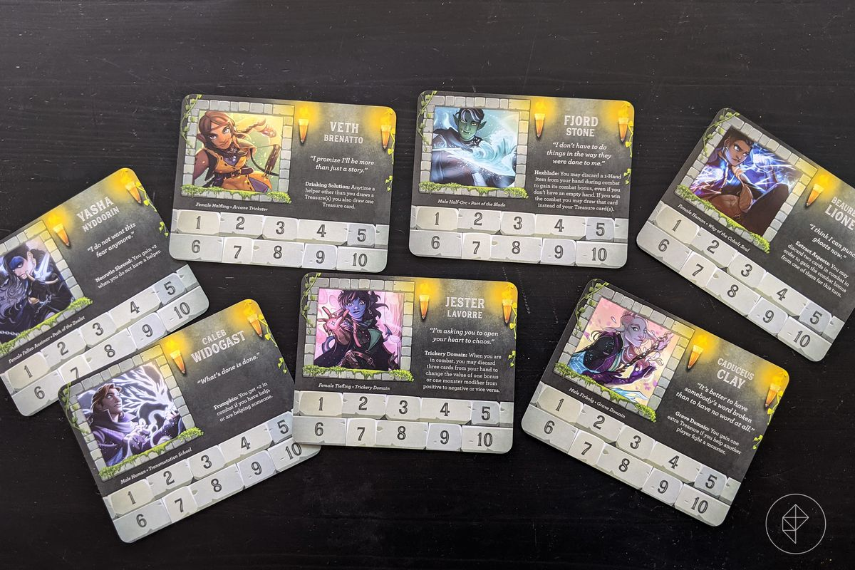 Munchkin: Critical Role - an assortment of character cards, each representing a member of The Mighty Nein from Critical Role.