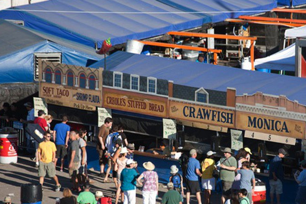 Food stands at the 2011 Jazz Fest.