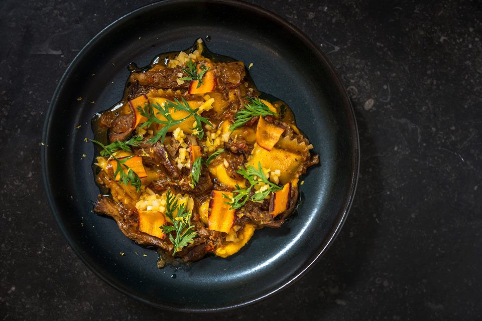 Ferris' carrot agnolotti with lamb neck and pickled squash