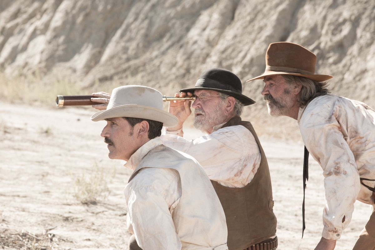 Matthew Fox, Richard Jenkins, and Kurt Russell in Bone Tomahawk.