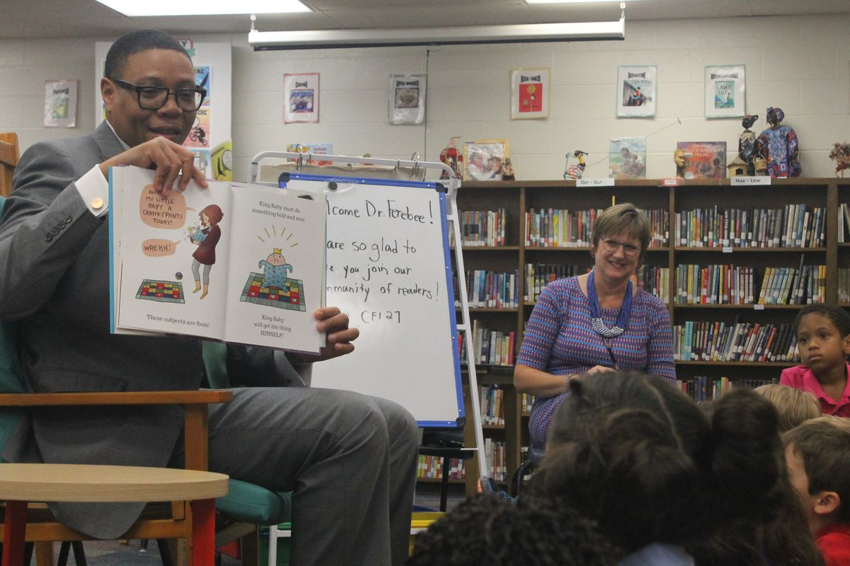 Ferebee visited students at Center for Inquiry School 27 on the first day of school.