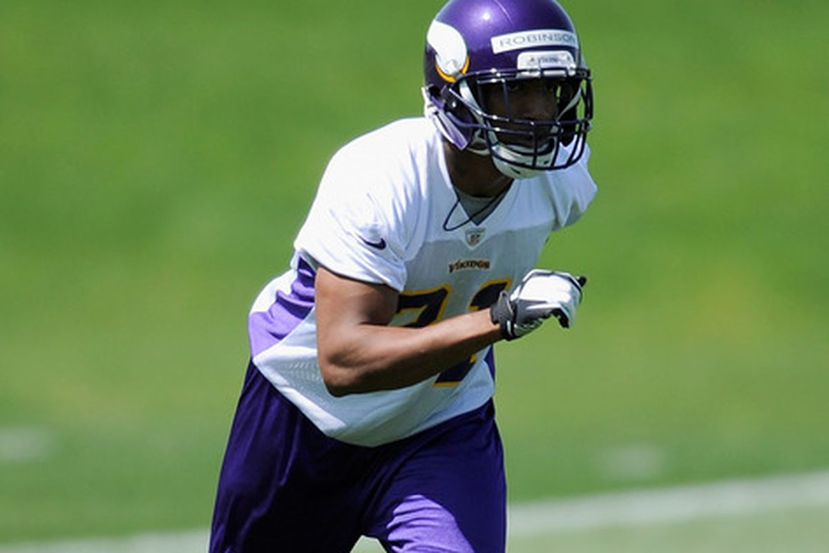 EDEN PRAIRIE, MN - MAY 4: Josh Robinson #31 of the Minnesota Vikings runs through a drill during a rookie minicamp on May 4, 2012 at Winter Park in Eden Prairie, Minnesota. (Photo by Hannah Foslien/Getty Images)